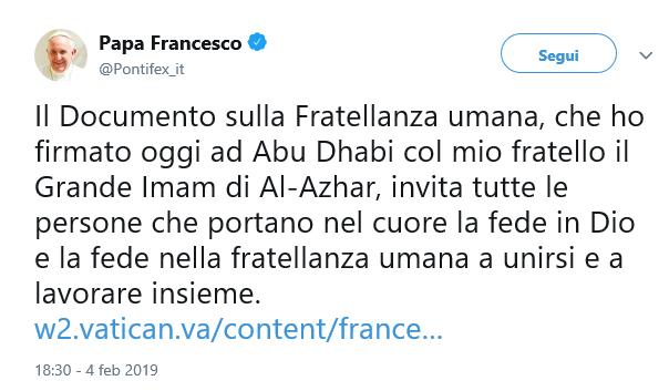 tweet fratellanza